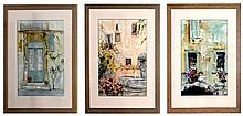 Dianne Ogg. 'Taverne', watercolour and ink. Three works. Each measureds 71 x 50cm