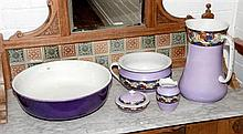 Five piece Royal Doulton washstand set in Lavender
