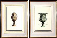 A pair of classical urn form prints. Image size 41 x 32cm