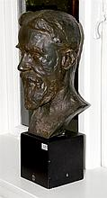 Auguste Rodin, Bronzed plaster head, Licensed museum posthumous reporoduction, gallery label, height 56cm