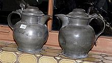 Pair of pewter beer tankards