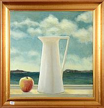 Artist Unknown, Still life with jug and apple, oil on canvas, signed and dated lower right JSW 2003. 50 x 50cm