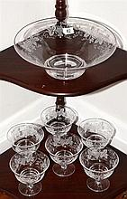 English Stuart lead crystal grape & vine etched 7 piece dessert set