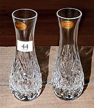 A pair of English Royal Brierley hand cut lead crystal vases