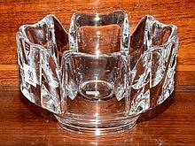 Heavy Swedish Orrefors lead crystal fruit bowl
