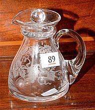 English Stuart crystal grape & vine etched lidded jug