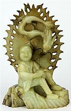 Jade Carved Dragon & Child Figure Group