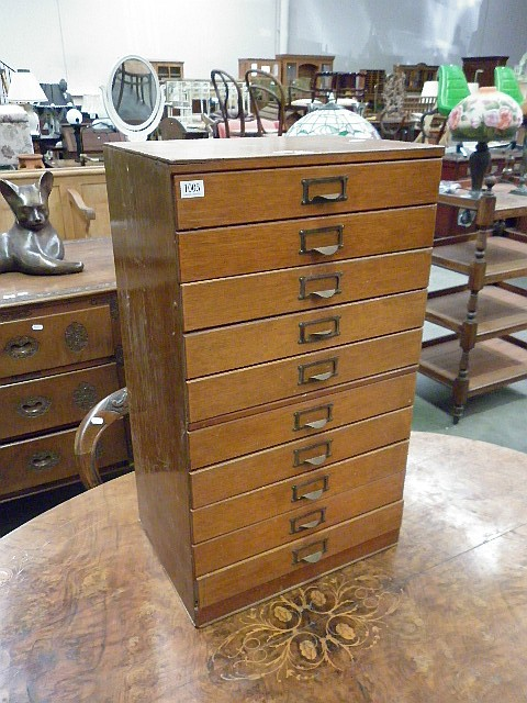 Vintage Stationary Cabinet of 10 Drawers