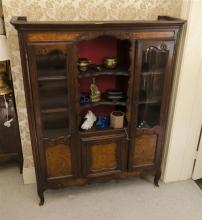 Antique French double glazed door buffet with burr walnut panels, approx 169cm H x 135cm W x 40cm D