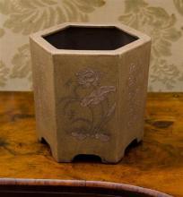 A Chinese Yixing Zisha hexagon brush pot,raised birds and flowers design, marks to base, h13.5cm,