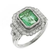 18ct White Gold Art Deco Style Emerald and Diamond Cluster Ring; Emerald approx 2.79ct, 46 round brilliant cut diamonds totalling 0....