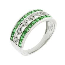 18ct White Gold Emerald and Diamond Three Row Dress Ring; 28 Emeralds total 0.54ct, with 7 diamonds down the centre totalling 0.09ct