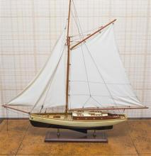 A fully rigged model of a Ketch on stand