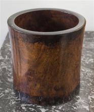 A large Chinese hardwood brush pot,h19cm,dia.19cm,