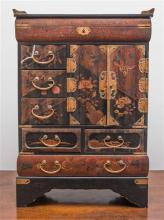 Antique 19th century Japanese multi drawer table cabinet, fitted with lift top compartment and banks of drawers.