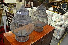 Pair of Wire Candle Lanterns