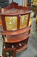Large Chinese Lacquered Corner Cabinet w 2 Cupboards