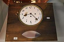 C19th Enamelled Clock Movement with Key & Pendulum