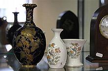 Royal Crown Derby Blue and Gilt Vase & 2 Wedgwood Vases