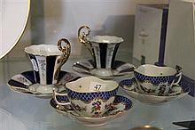 Herend Had Painted Cup/Saucers and Pair of RGK Cup/Saucers
