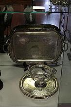 Silver Plated Trays and EP and Glass Footed Bowl
