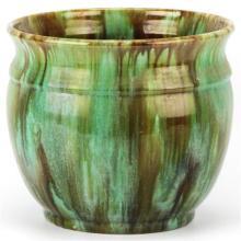 John Campbell Green & Brown Drip Glaze Vase