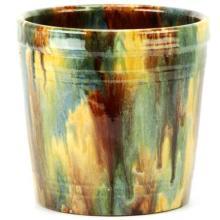 John Campbell Green, Blue Yellow & Rust Drip Glaze Vase