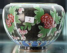 Cloisonne Jardeniere with Peony Design and Dish with Dragon