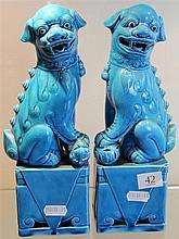 Pair of Chinese Turquoise Glazed Shishi