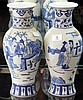 Pair of Chinese Blue & White Vases Painted with Ladies and Scrolls