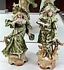 Pair of German Porcelain Figures of Dandy (chipped) & Lady