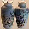 Pair of Japanese Hand Painted Vases
