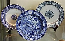 Victorian Pair of Blue and White Plates Wedgwood Etruria 'Raphael' & 'Honey Suckle' with Early 19th Century Shepherd Soup Plate