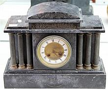 Black Slate Mantle Clock with Metal Columns and Medaille d'argent Stamp