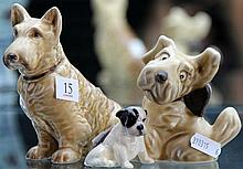 3 Dog Figurines Incl Silvac and Doulton