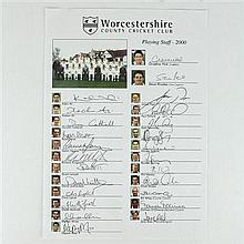 Worcester County Cricket Club Playing Staff 2000 Signatures