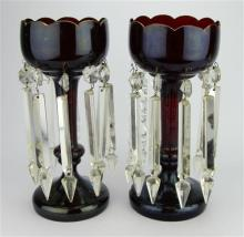 Ruby Glass Pair of Lustres