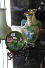 Cloisonne Vase & Plate on Stand
