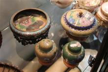 Cloisonne Bowl on Stand, Another & 2 Lidded Jars