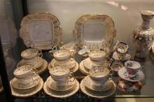 Cauldron Tea Setting (crack to creamer) with Other Tea Wares incl. Bavarian