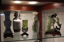 Jadeite Figural Vase with 3 Oriental Vases & a Small Jade Panel