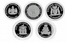 ROYAL AUSTRLIAN MINT STATE SERIES; $10 silver proof coins, 1985 Victoria, 1986 South Australia, 1990 Western Australia, 1993 ACT, 19...