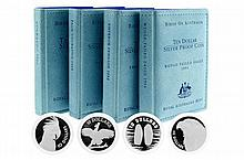 ROYAL AUSTRLIAN MINT BIRDS OF AUSTRLIA ; $10 silver proof coins, 1990 Cockatoo, 1992 Emperor Penguin, 1993 Palm Cockatoo, 1994 Wedge...