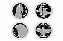 ROYAL AUSTRLIAN MINT BIRDS OF AUSTRLIA ; $10 silver proof coins, 1989 Kookaburra, 1990 Cockatoo, 1993 Palm Cockatoo, 1994 Wedge - Ta...