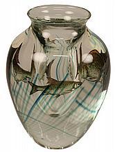 Signed Art Glass Fish Vase