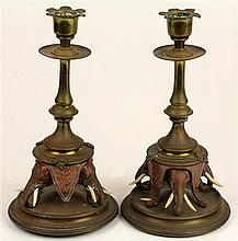 Indian Ivory & Brass Elephant Form Candlesticks