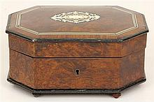 Continental Burr Walnut Inlaid Jewellery Casket