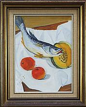 Artist Unknown - Still Life - Fish & Fruit 40 x 30cm