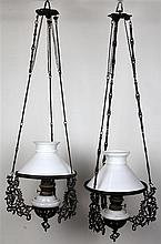 Dutch Colonial Pair of Hanging Lamps
