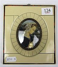 Italian Miniature of Renaissance Lady in Frame with Tortoise Shell Inlay